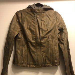 Jill Leather Hooded Jacket
